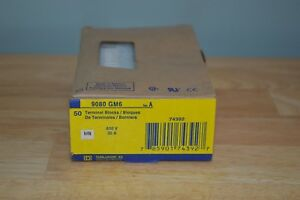 Box Of 50 New Sealed Square D 9080gm6 Terminal Blocks 30 Amp 600 Volt