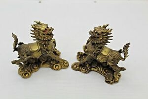 Antique Brass Chinese Foo Dog Dragon Lion Statue Kylin Figure Pair