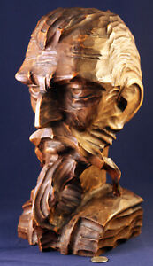 Hand Carved Solid Wood Don Quixote Bearded Man S Head Bust Statue Made In Spain