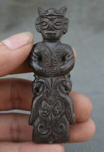 Chinese Natural Jade Hand Carved Dynasty Wenguan Statue Pendant 75mmtall