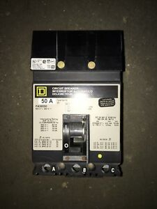 Square D Circuit Breaker 50 Amp Cat No Fa36050 3 Poles