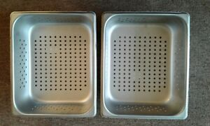 Lot Of 2 Vollrath Perforated Steam Pan Half Size 10 3 8 X 12 3 4 Size 6