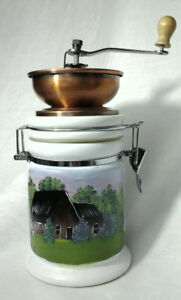 White Ceramic Container With Attached Copper Coffee Grinder 0113201903