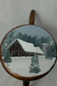 Vintage Wooden Milking Stool With Hand Painted Winter Barn Scene 0113201908