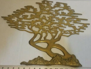 Vintage Mid Century Modern Brass Bonsai Tree Wall Hanging Art Decor 15 5 Tall