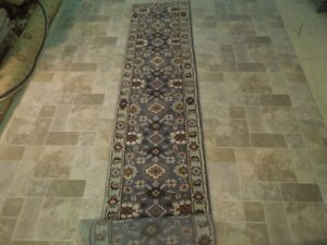 Hand Knotted Rug 3x18 Gray Traditional Quality Traditional New Runner Rug