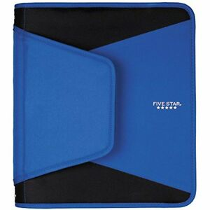 Five Star 1 1 2 Inch Zipper Binder 3 Ring Binder 3 pocket Expanding File Blue