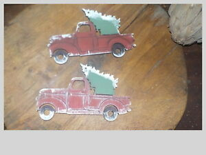 Hand Made Wooden Pick Up Truck With Tree Christmas Ornament Bowl Filler