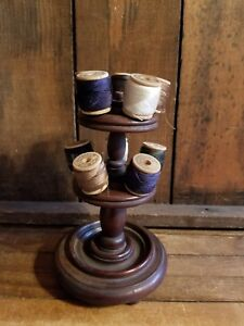 Antique Primitive Vintage Sewing Wood Spool Thread Holder J P Coats