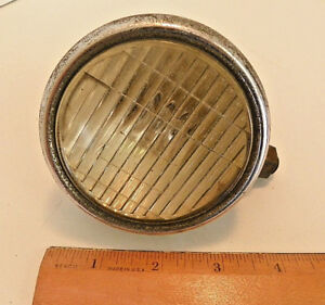 Early Vintage Auto Cowl Or Fender Light Lamp Clear Glass Lens