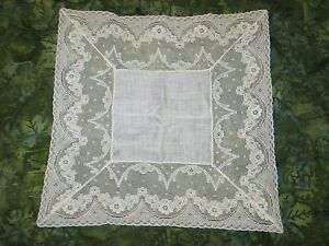Antique Vtg French Alencon Net Lace Hanky Wedding Handkerchief