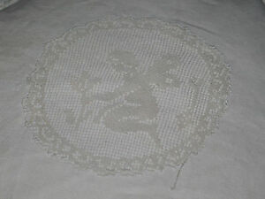 Antique Italian Needle Lace Pillow Sham Cupids Putti Ivory Linen Silk Pillow