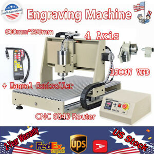 1 5kw 4 Axis Cnc 6040 Router Engraving Machine Drill 3d Cutter Remote Control