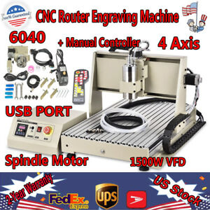 4 Axis Cnc 6040 Router Engraver 1 5kw Vfd Usb Cut Drill Mill Machine Rc Control
