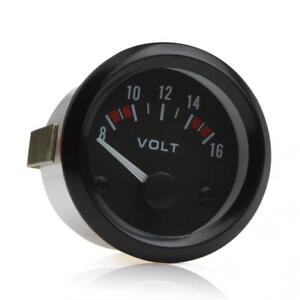 Electrical 2 52mm Dc8 16v Universal Led Car Voltmeter Voltage Gauge Meter Black