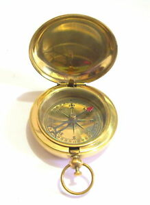 Antique 2 Inches Brass Push Button Handmade Compass Nautical Solid Brass