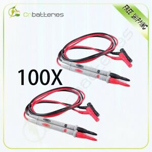 100 Silicone Sets 1000v 20a Banana Plugs Detachable Tip Probe Test Lead Bk Red