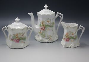 Antique Germany 3pcs Tea Set Teapot Sugar Creamer Water Lilies Rs Prussia Style