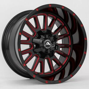 20x10 American Off road A105 5x150 Et 24 Black Milled Red Tint Wheels set Of 4