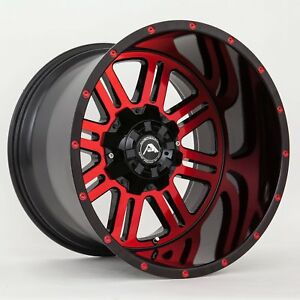 20x12 American Off road A106 5x150 Et 44 Black Red Tint Wheels set Of 4