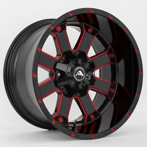 20x10 American Off road A108 8x170 Et 24 Black Milled Red Tint Wheels set Of 4