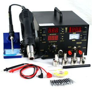 3 In 1 853d Smd Dc Power Supply Hot Air Iron Gun Rework Soldering Station Welder