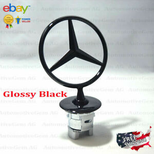 Mercedes Benz Oem Front Hood Ornament Glossy Black Mounted Star Logo C E S Class
