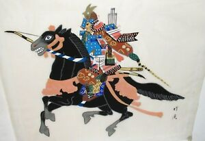 Japanese Samurai Soldier On Horse Watercolor On Silk Painting Signed