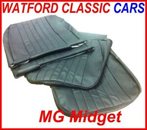 Mg Midget Sprite Pair Of Seat Covers 1970 1981 Leather Look All Black
