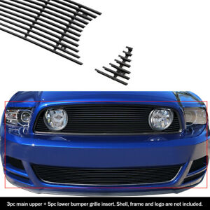 Fits 2013 2014 Ford Mustang Gt W Fog Cover Black Billet Grille Combo