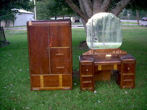 Antique Vintage Armoire Vanity Dresser W Mirror Needs Work Repair Refinish