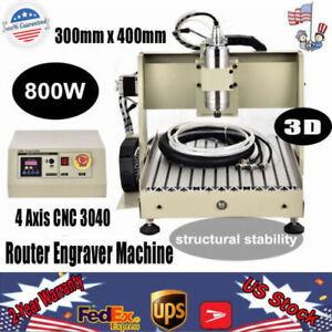 800w 4 Axis Cnc 3040 Router Engraver Machine Diy Wood Metal 3d Carving Cutter Us