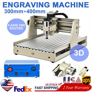 4 Axis 400w Vfd Engraver Machine Cnc 3040 Router Carving Cutter Spindle Motor Us