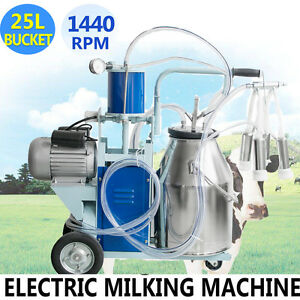 usa Electric Milking Machine Milk Piston Pump Farm Cow Bucket 25l Barrel Great