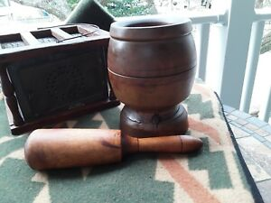 Antique Primitive Hand Turned Wood Mortar Pestle Early Americana Apothecary