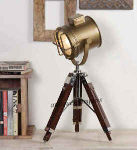 Vintage Industrial Style Brown Brass Finish Teak Wood Tripod Table Lamp