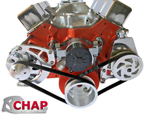 Small Block Chevy Serpentine Pulley Conversion Kit Alt Ps Electric Wp Sbc Ewp 1