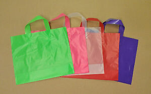 12x10x4 Frosted Plastic Loop handle Shopping Party Gift Tote Bag Assorted Colors