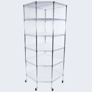 6 tier Wire Shelving Rack Corner Unit Storage Adjustable Liner Shelf Commercial