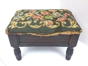 Antique Victorian Needlepoint Footstool Floral Dark Wooden Shabby Cottage Style