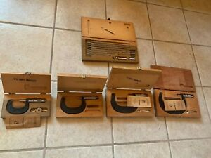 Vintage Usa 5 Sets Boxes Scherr Tumico Outside Inside Micrometer Sets W Cases