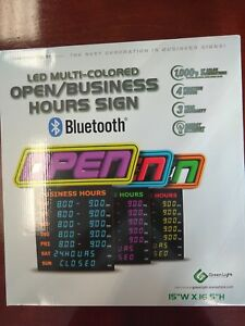 Led Muti colored Open business Hours Sign bluetooth