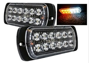 2x White Amber Warning Flash Strobe 12 led Light Emergency Vehicle Tow Truck 12v