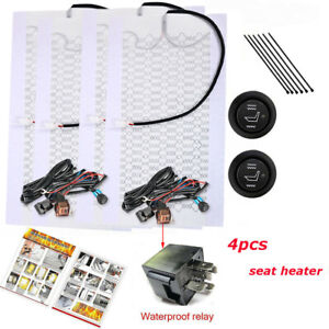 2 Seats Universal Heated Seat Heater Kit 12v Carbon Fiber Round High low Switch