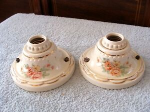 Pair Antique Art Deco Porcelain Ceramic Light Fixtures Flush Ceiling Refurbished
