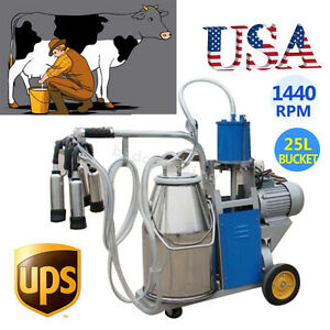 Electric Piston Vacuum Pump Milking Machine Cows Bucket Portable Stainless Steel