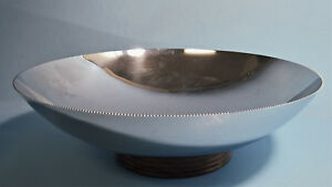 Art Deco Chase Chrome Console 10 Bowl With Wooden Base Sawtooth Serrated Edge