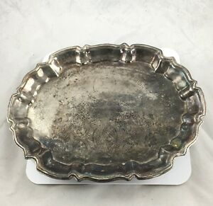 Vintage Leonard Silver Plate Footed Serving Tray Scallop Rim Etched Oval Platter