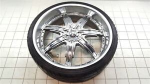 24 Inch 24x9 Devino Chrome Rim Wheel W Tire 4238