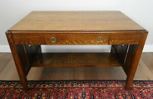 Antique Arts And Crafts Mission Style Quarter Sawn Oak Desk Library Table